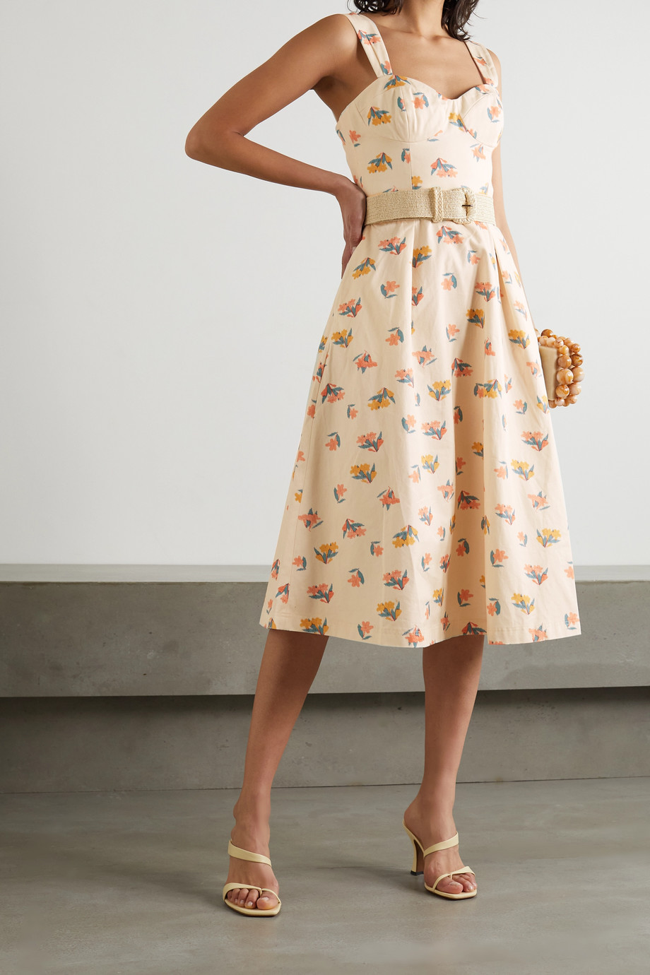 REBECCA VALLANCE Hadi belted floral-print cotton-twill midi dress