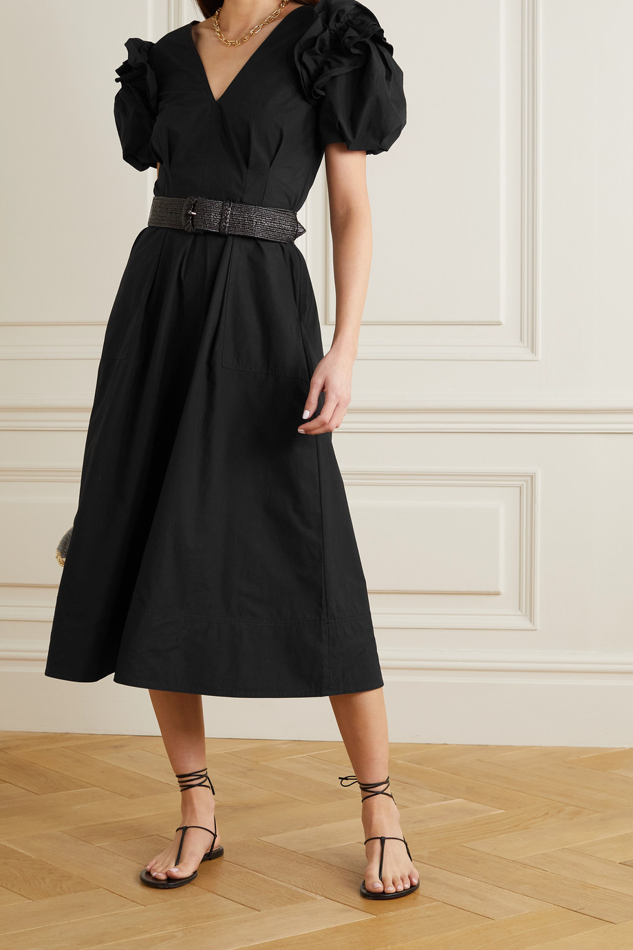REBECCA VALLANCE Fes belted ruffled cotton-poplin midi dress