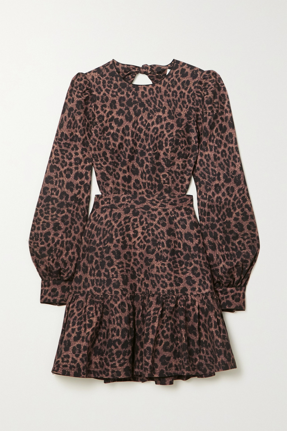 REBECCA VALLANCE Yasi cutout tiered leopard-print linen-blend mini dress