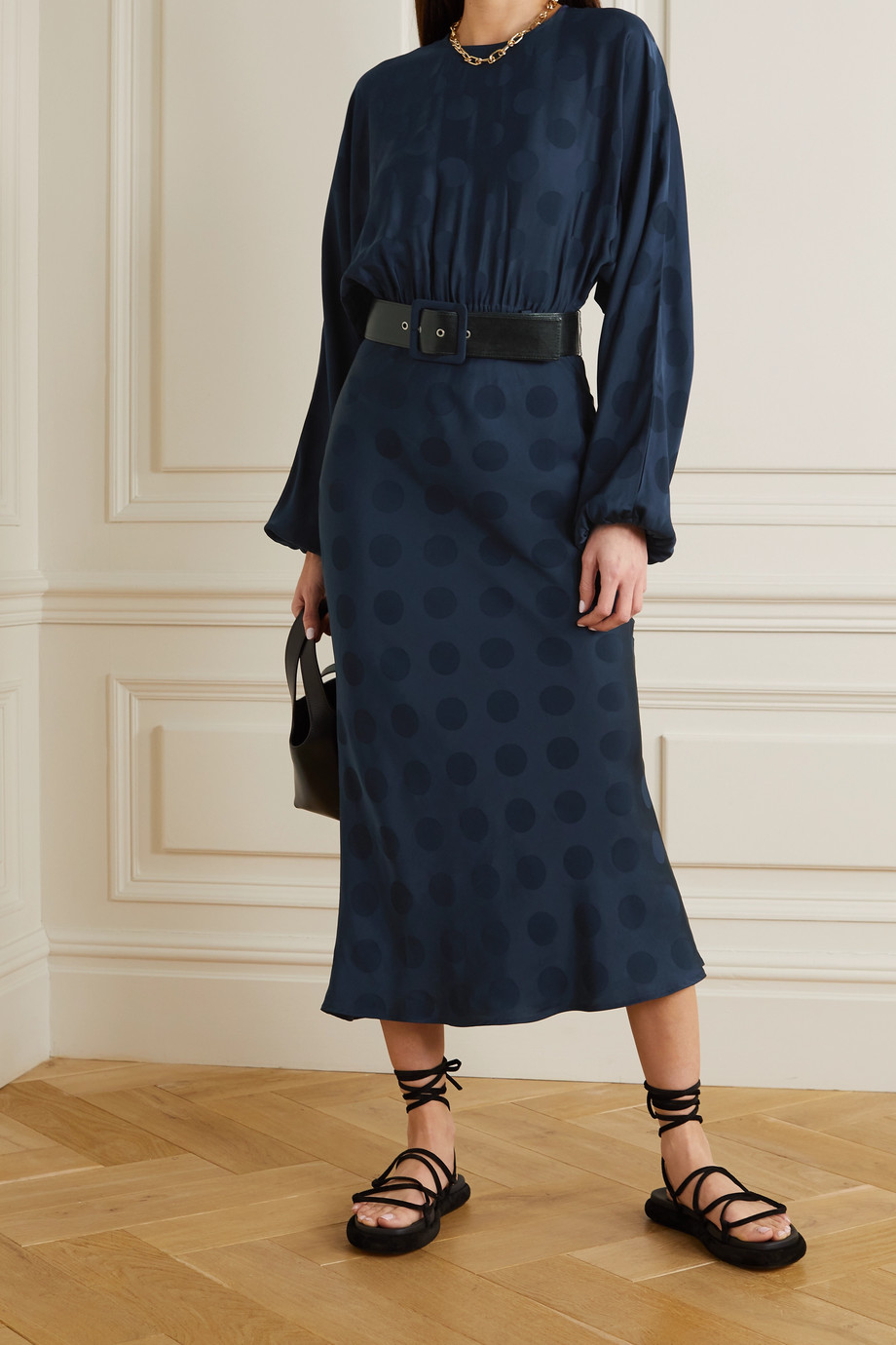 REBECCA VALLANCE Nour belted polka-dot satin-jacquard midi dress