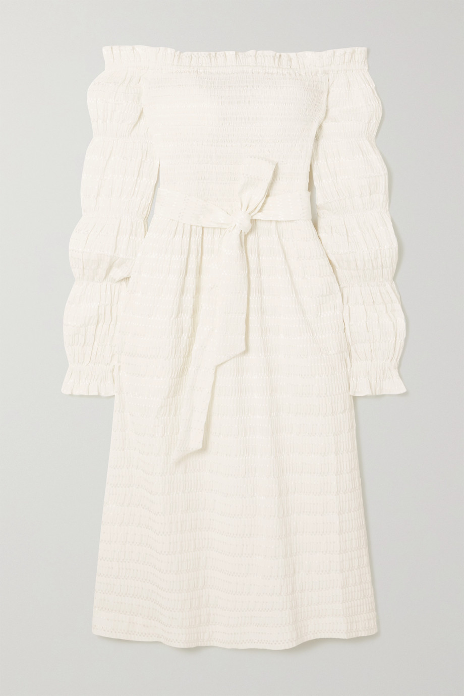 REBECCA VALLANCE Jame off-the-shoulder belted shirred seersucker midi dress