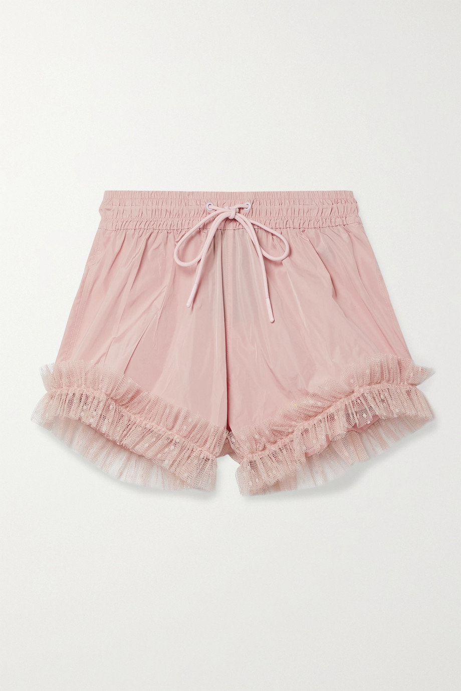 REDVALENTINO Ruffled point d'esprit tulle-trimmed taffeta shorts