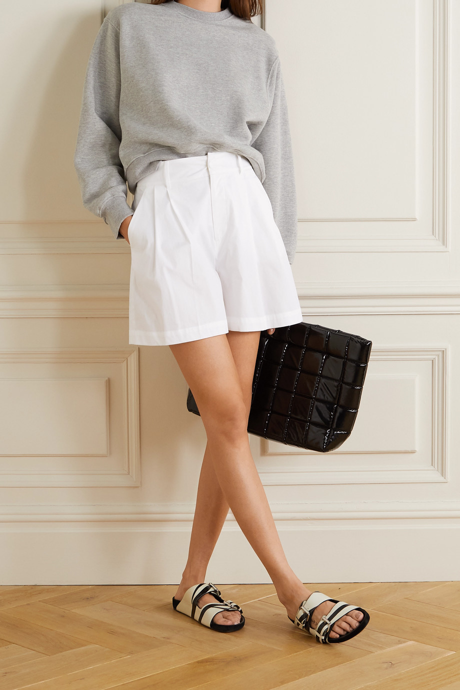 REDVALENTINO Pleated stretch-cotton poplin shorts