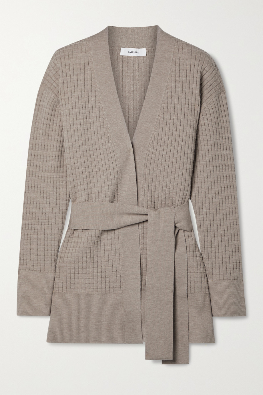 CASASOLA Como belted waffe-knit wool-blend cardigan