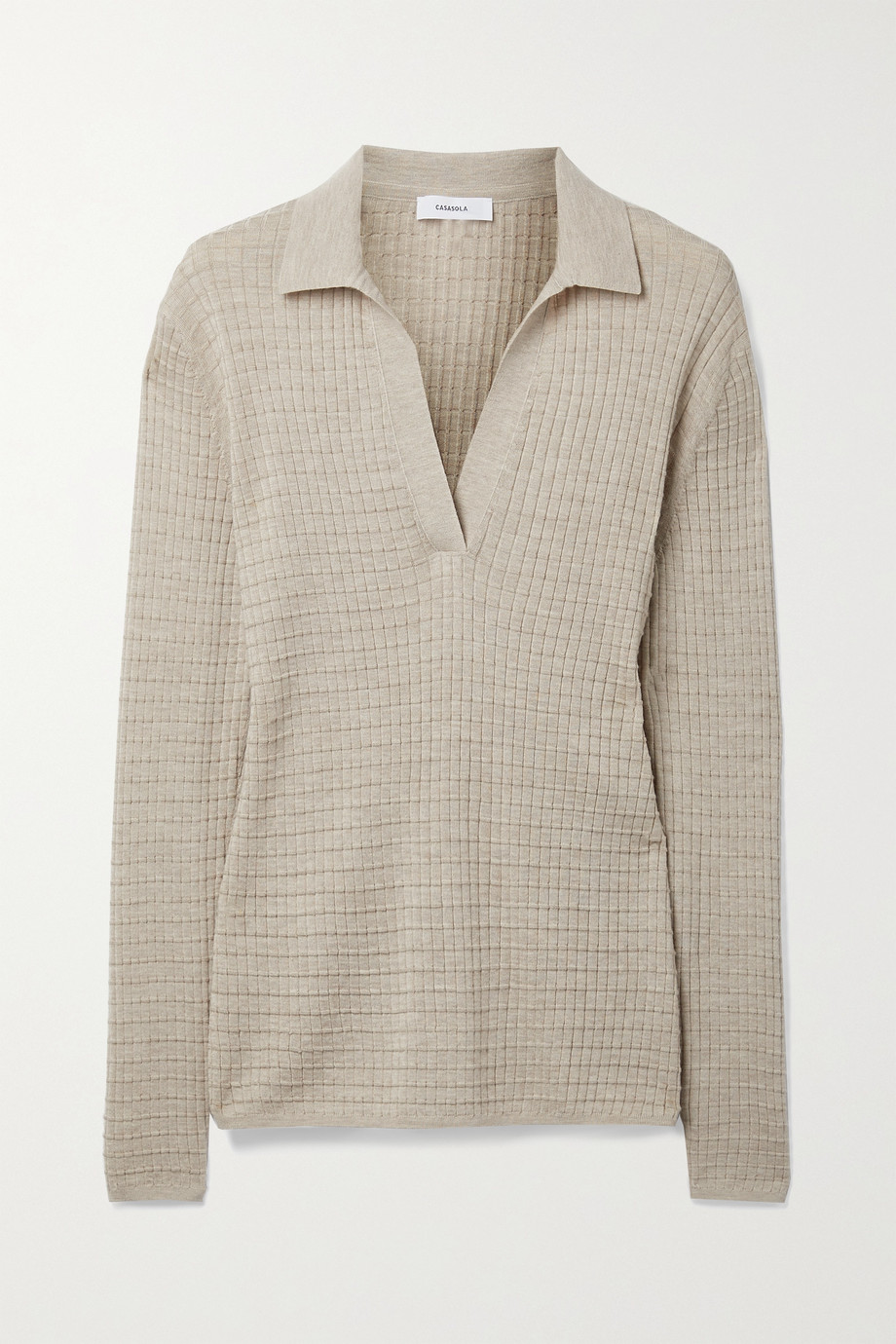 CASASOLA Alvina waffle-knit cashmere and silk-blend sweater