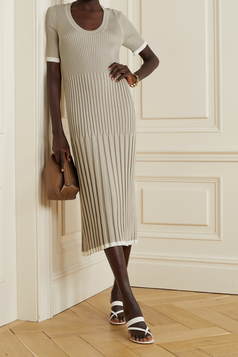 CASASOLA Pleated ribbed silk and cotton-blend midi dress