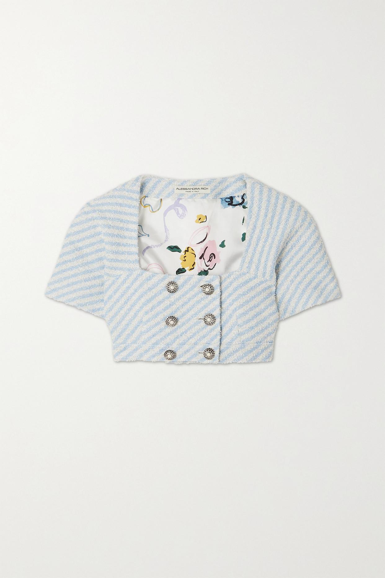 ALESSANDRA RICH - Cropped Striped Cotton-blend Tweed Jacket - Blue - IT36