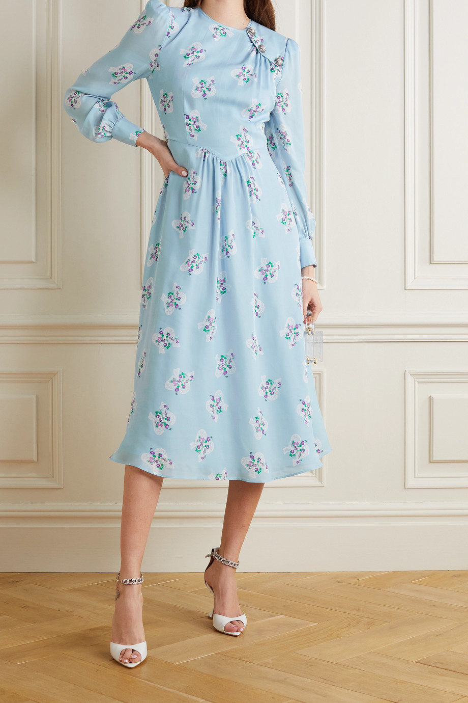ALESSANDRA RICH Button-embellished floral-print silk crepe de chine midi dress