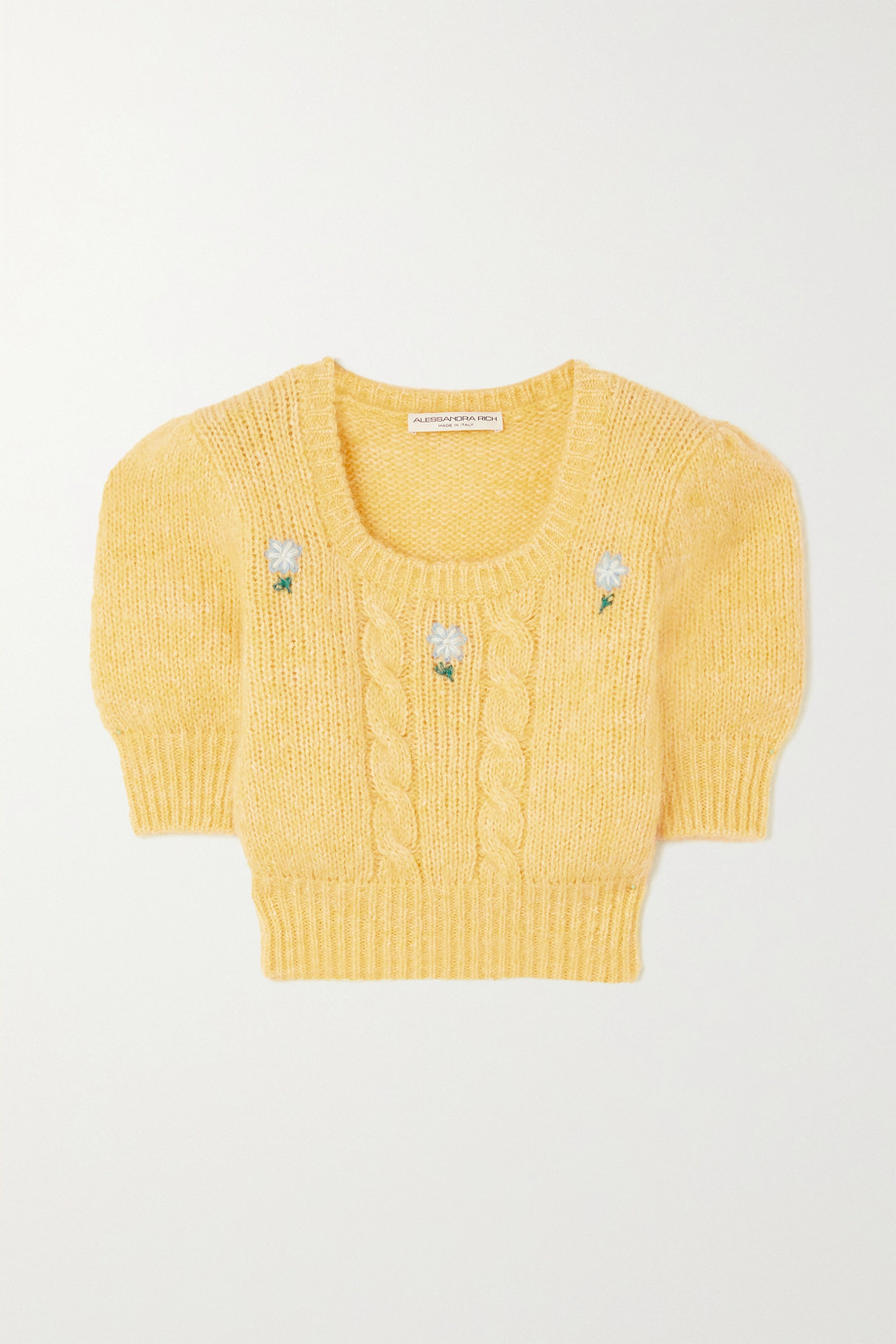 ALESSANDRA RICH Cropped embroidered cable-knit sweater