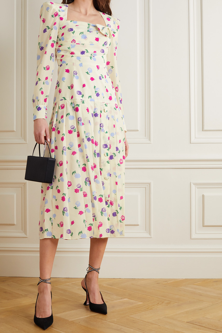 ALESSANDRA RICH Bow-detailed pleated floral-print silk-crepe midi dress