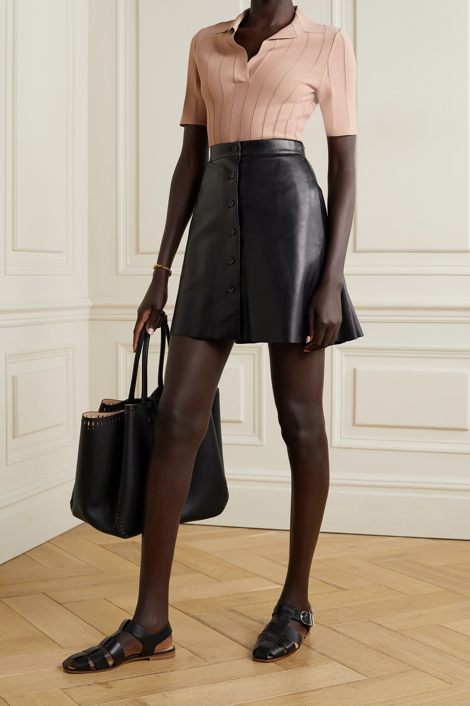 ALAÏA Pleated leather mini skirt