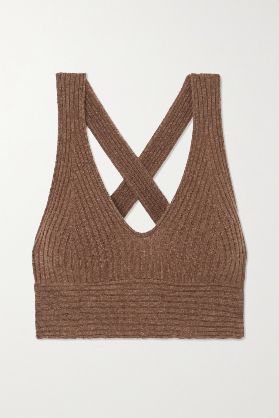 LOULOU STUDIO Tromelin cropped ribbed mélange cashmere top