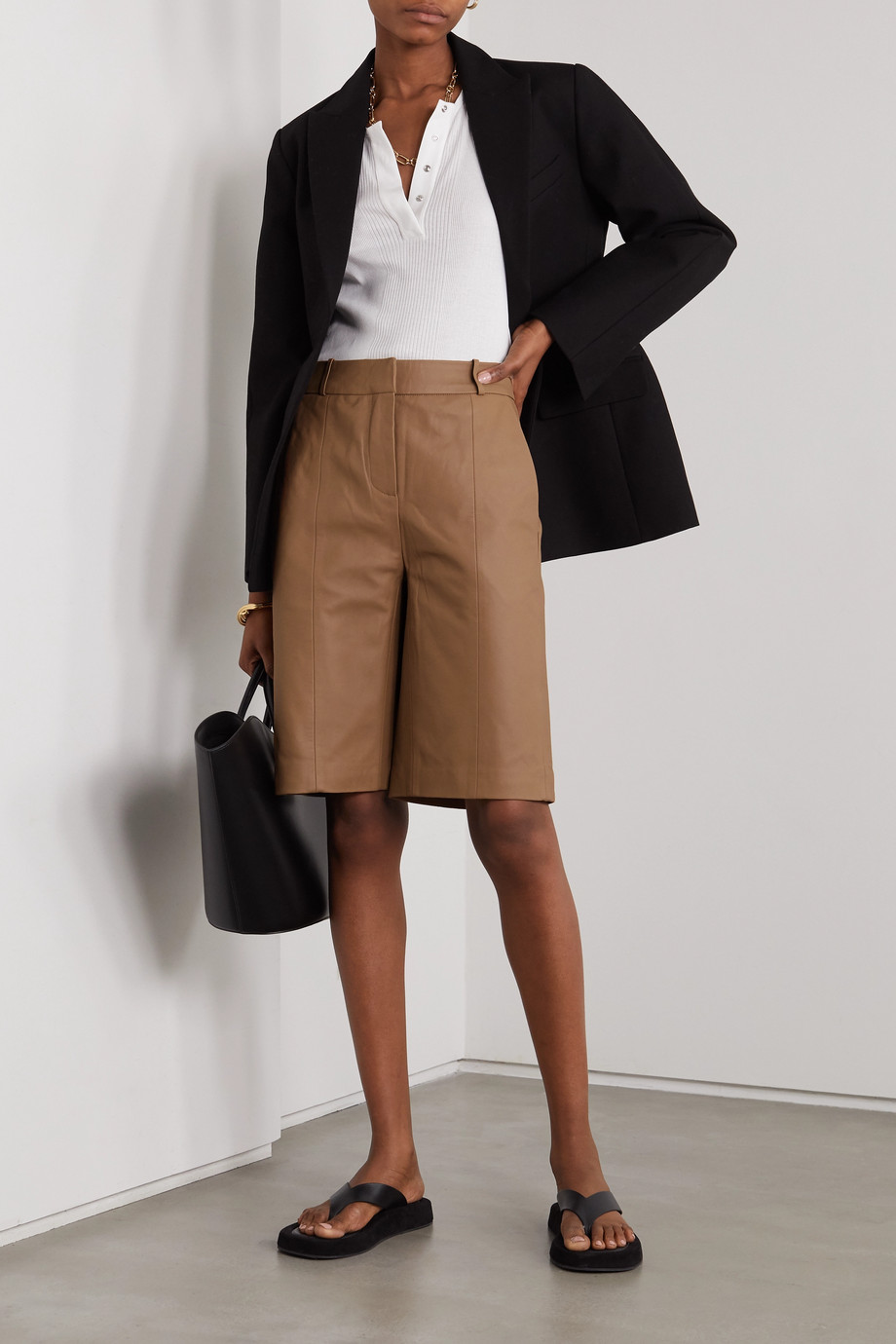 LOULOU STUDIO Kiltan leather shorts