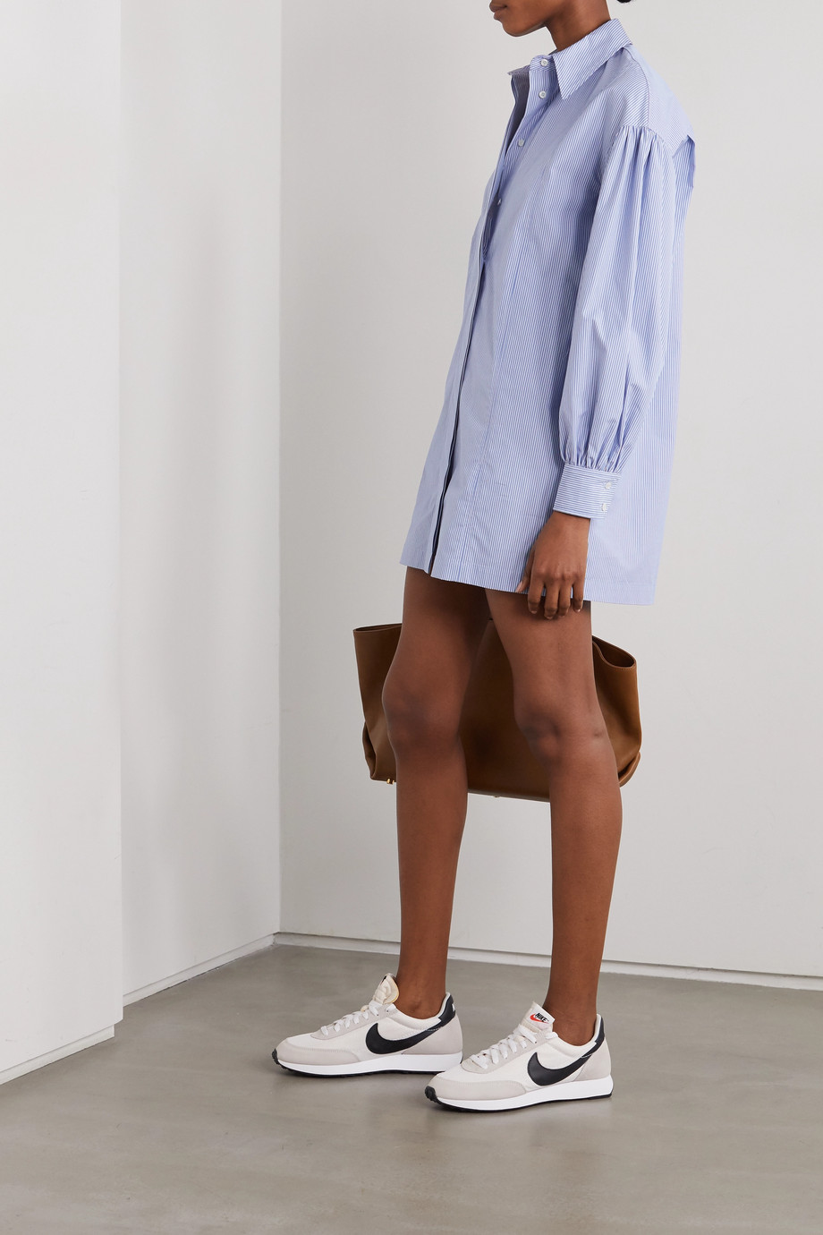 LOULOU STUDIO Zena striped cotton-poplin mini shirt dress