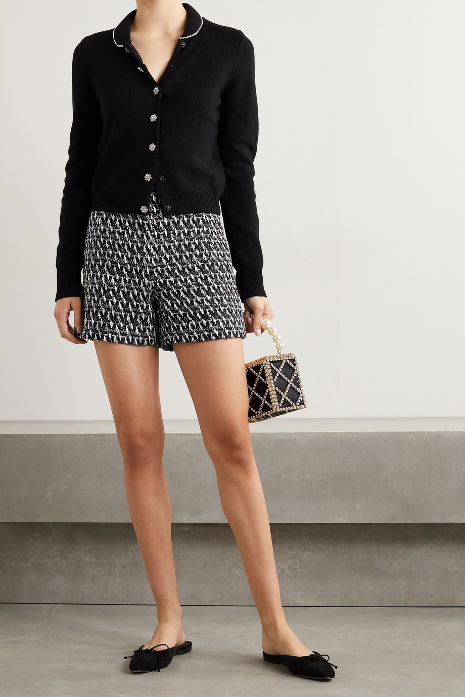 ANDREW GN Bouclé-tweed shorts