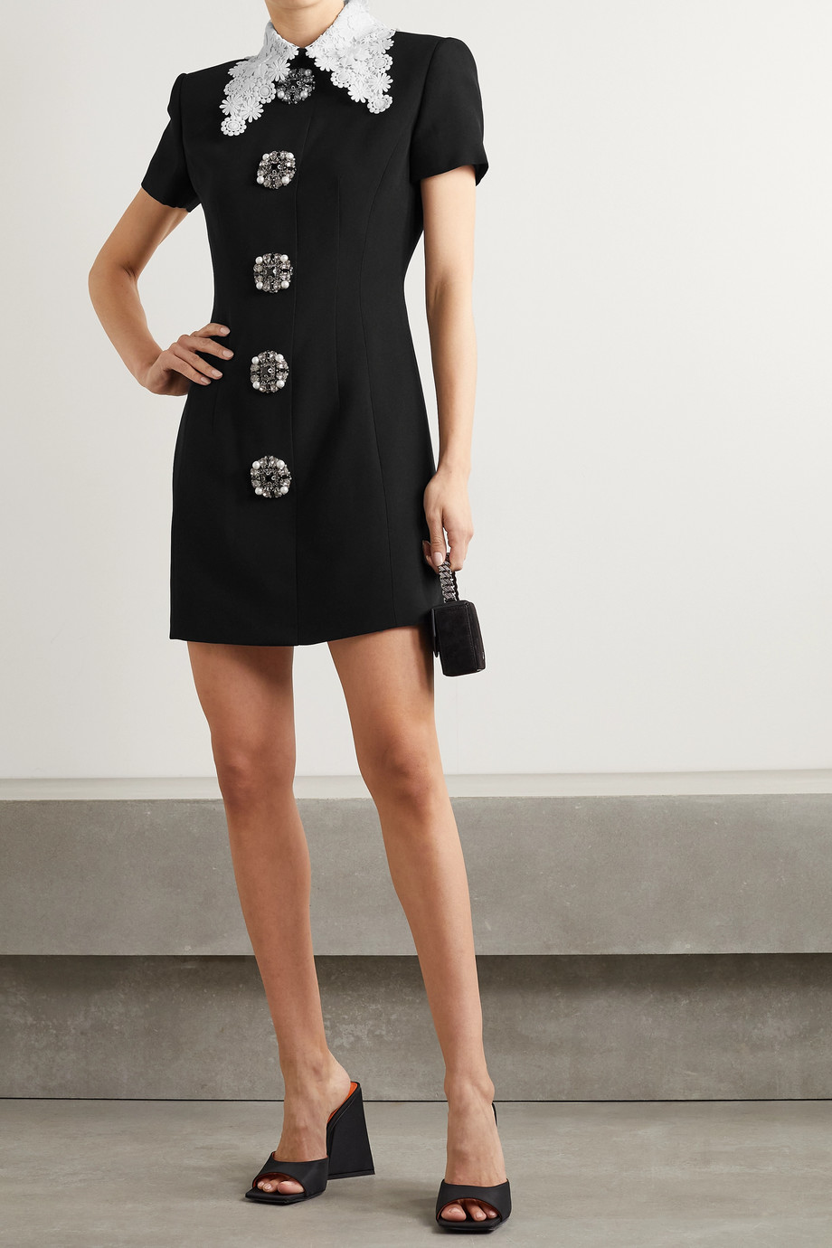 ANDREW GN Guipure lace-trimmed embellished crepe mini dress