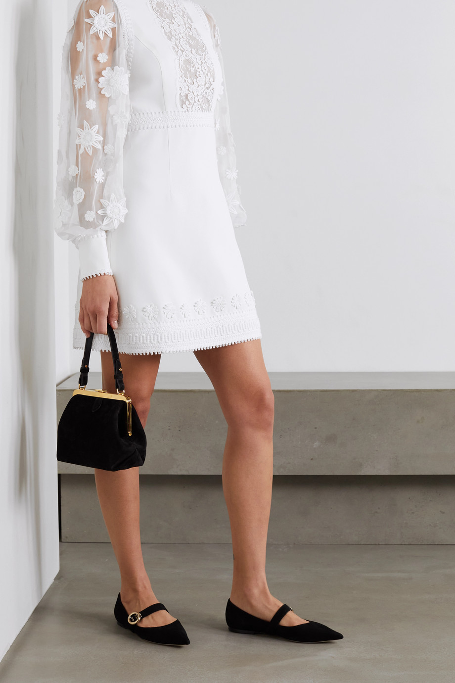 ANDREW GN Appliquéd chiffon, lace and crepe mini dress