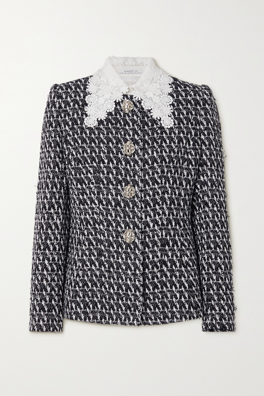 ANDREW GN Guipure lace-trimmed embellished bouclé-tweed jacket