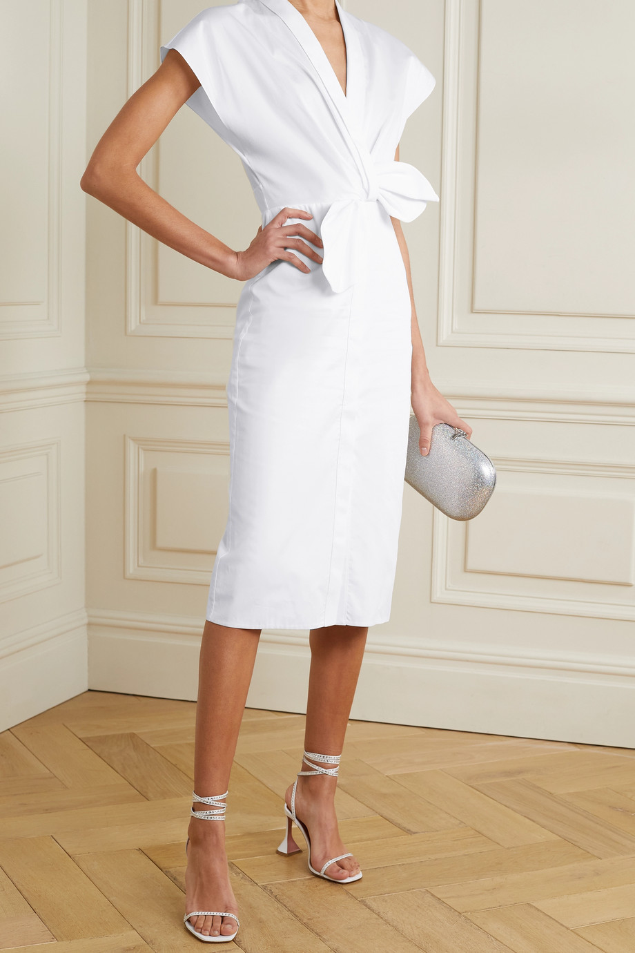 SAFIYAA Calianne twist-front cotton-poplin midi dress