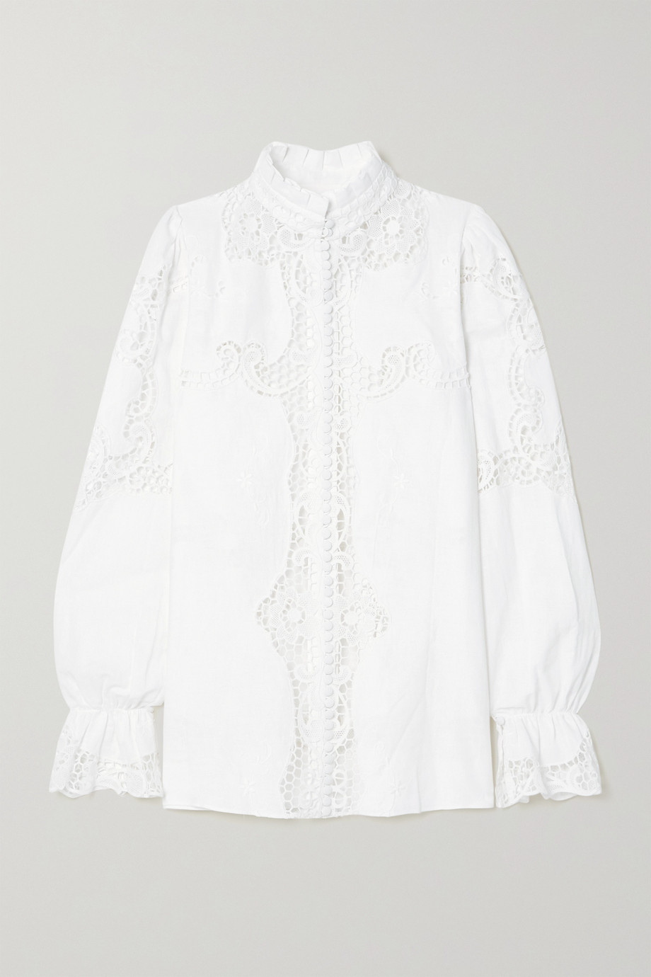 COSTARELLOS Milena broderie anglaise linen and cotton-blend blouse