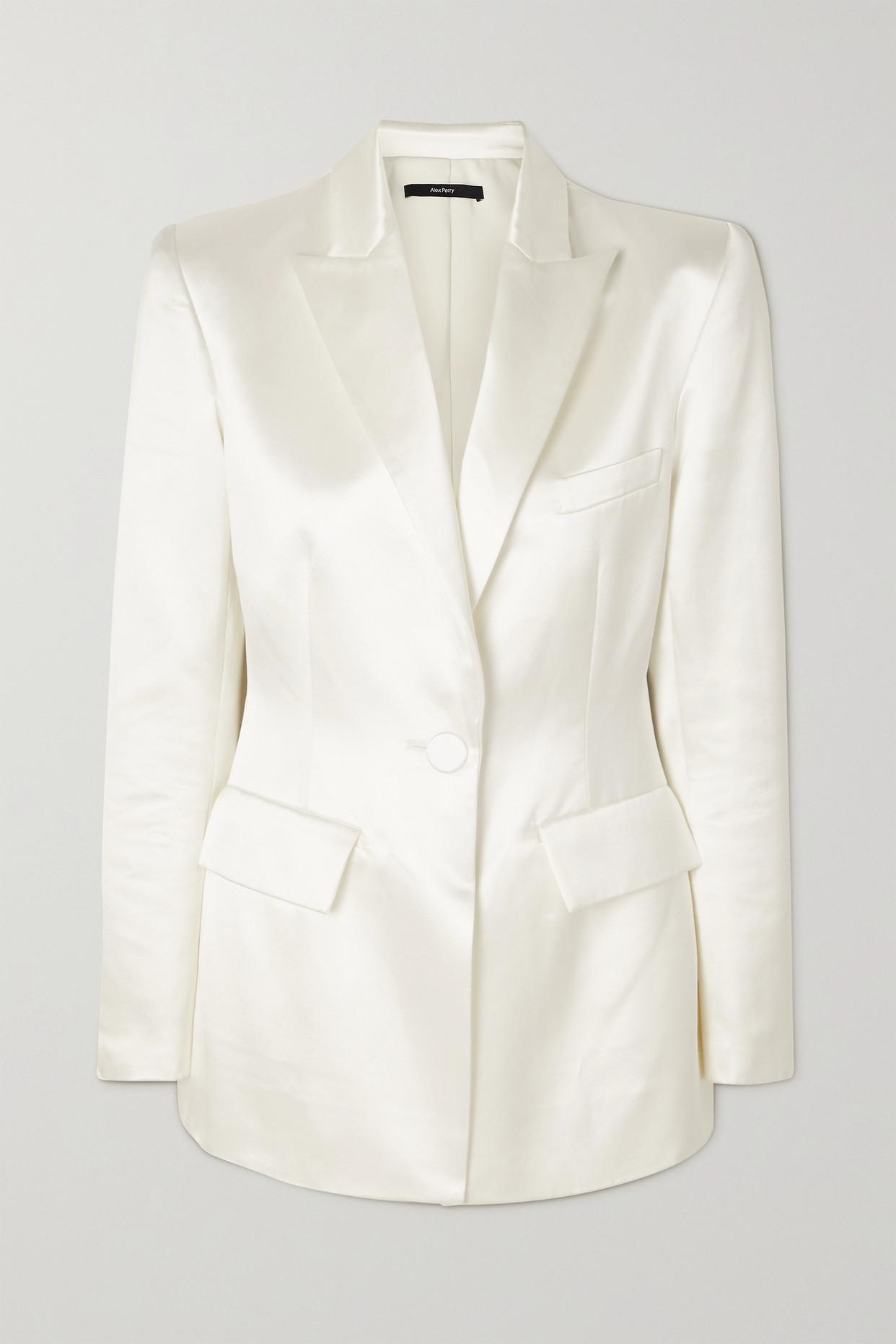 ALEX PERRY - Banks Cotton And Silk-blend Duchesse-satin Blazer - White - UK10