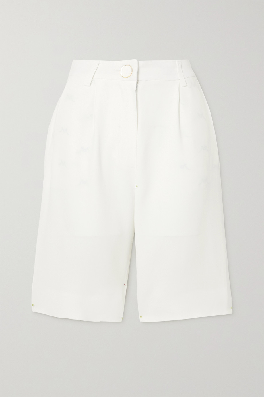 ROWEN ROSE Pleated crepe shorts