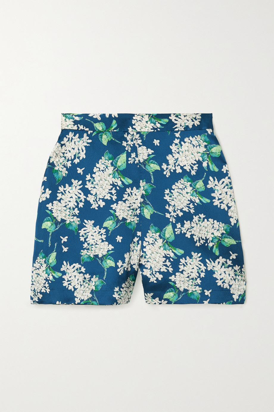 THE VAMPIRE'S WIFE Floral-print  hammered silk shorts