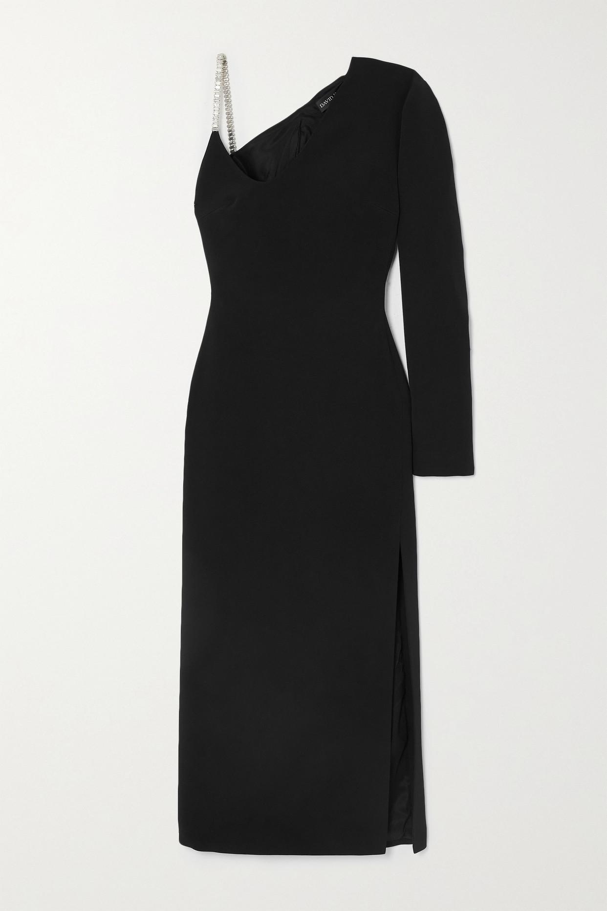 DAVID KOMA - One-sleeve Crystal-embellished Cady Midi Dress - Black - UK12