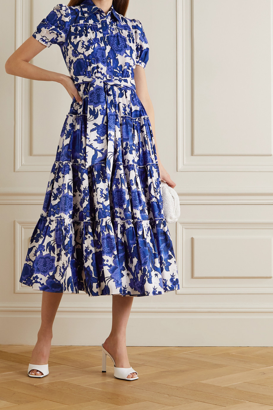DIANE VON FURSTENBERG Queena belted tiered floral-print cotton-poplin midi shirt dress