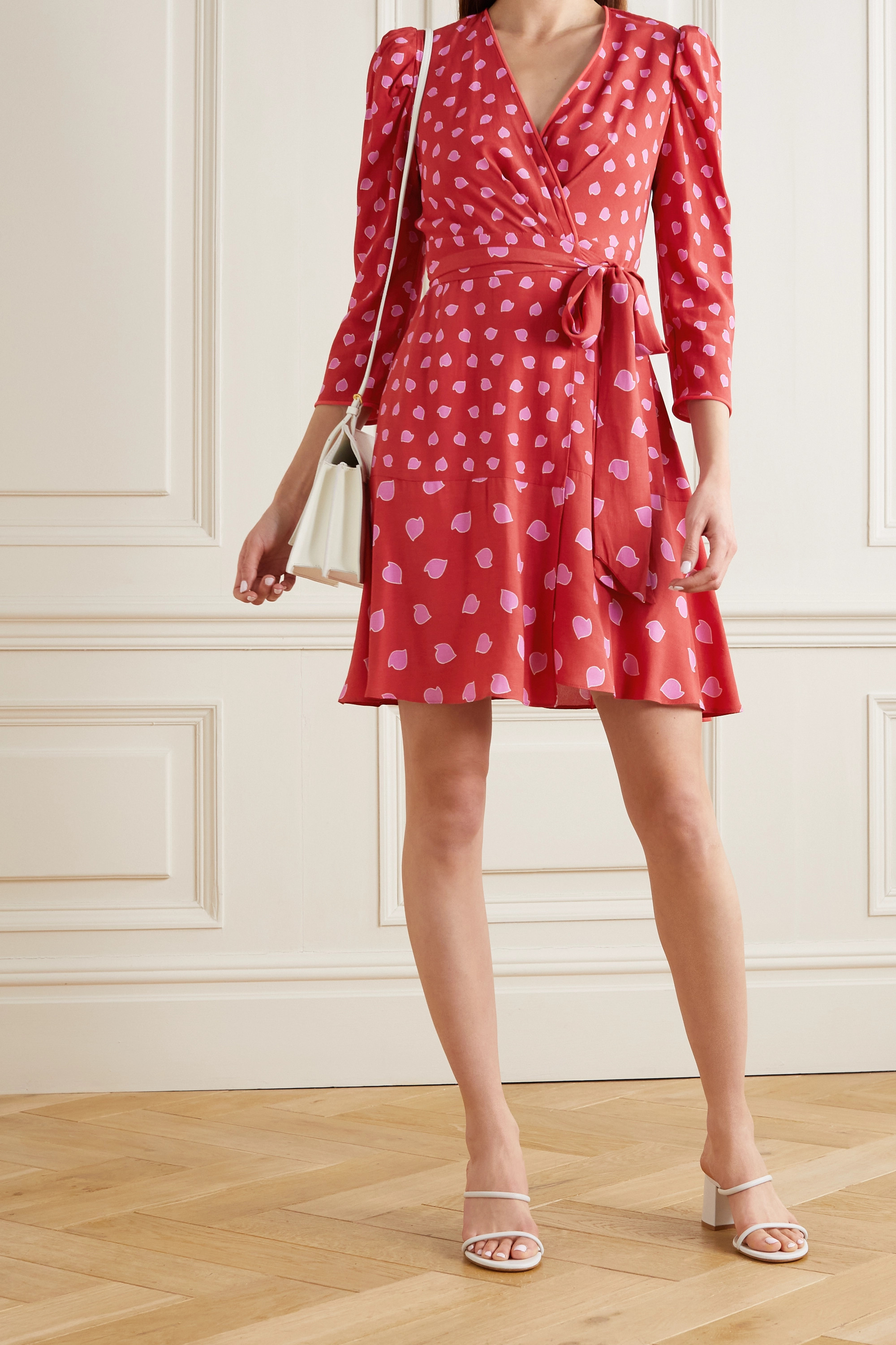 DIANE VON FURSTENBERG Charlene printed crepe mini wrap dress