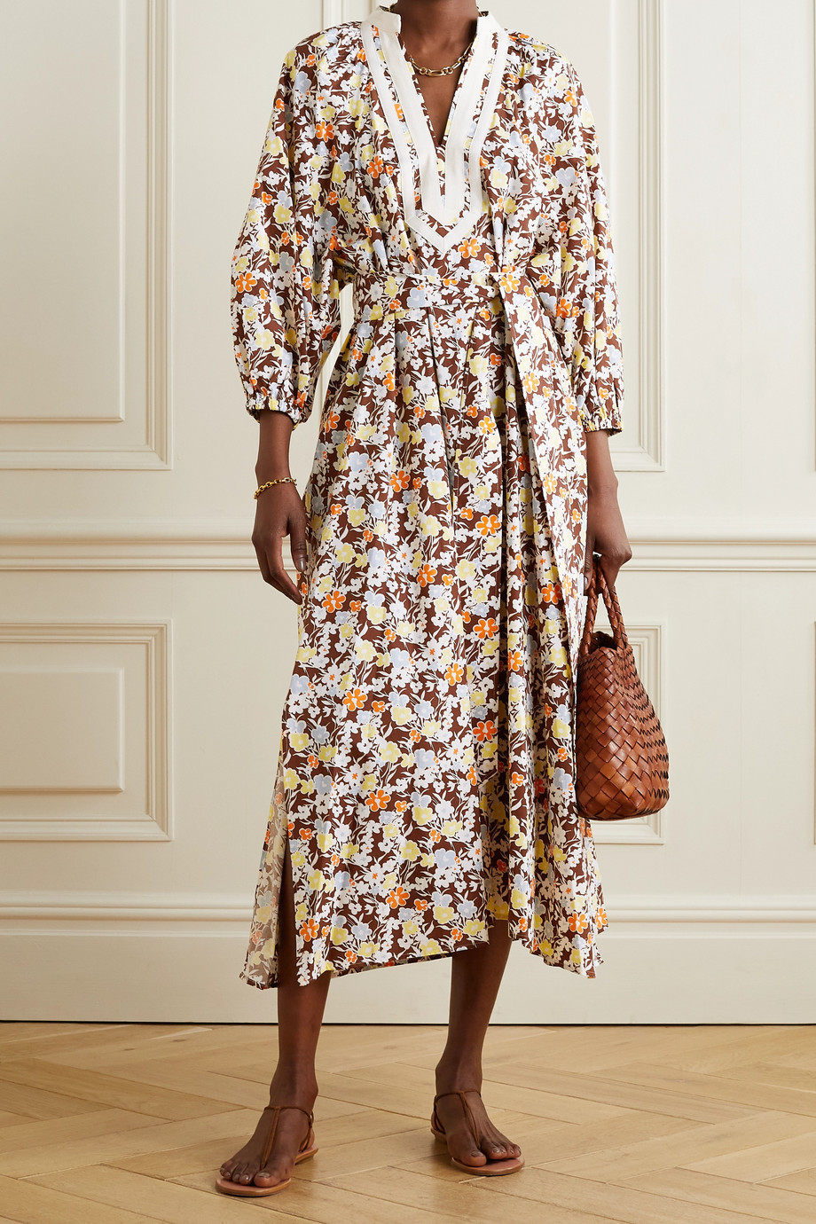 TORY BURCH Grosgrain-trimmed floral-print cotton midi dress