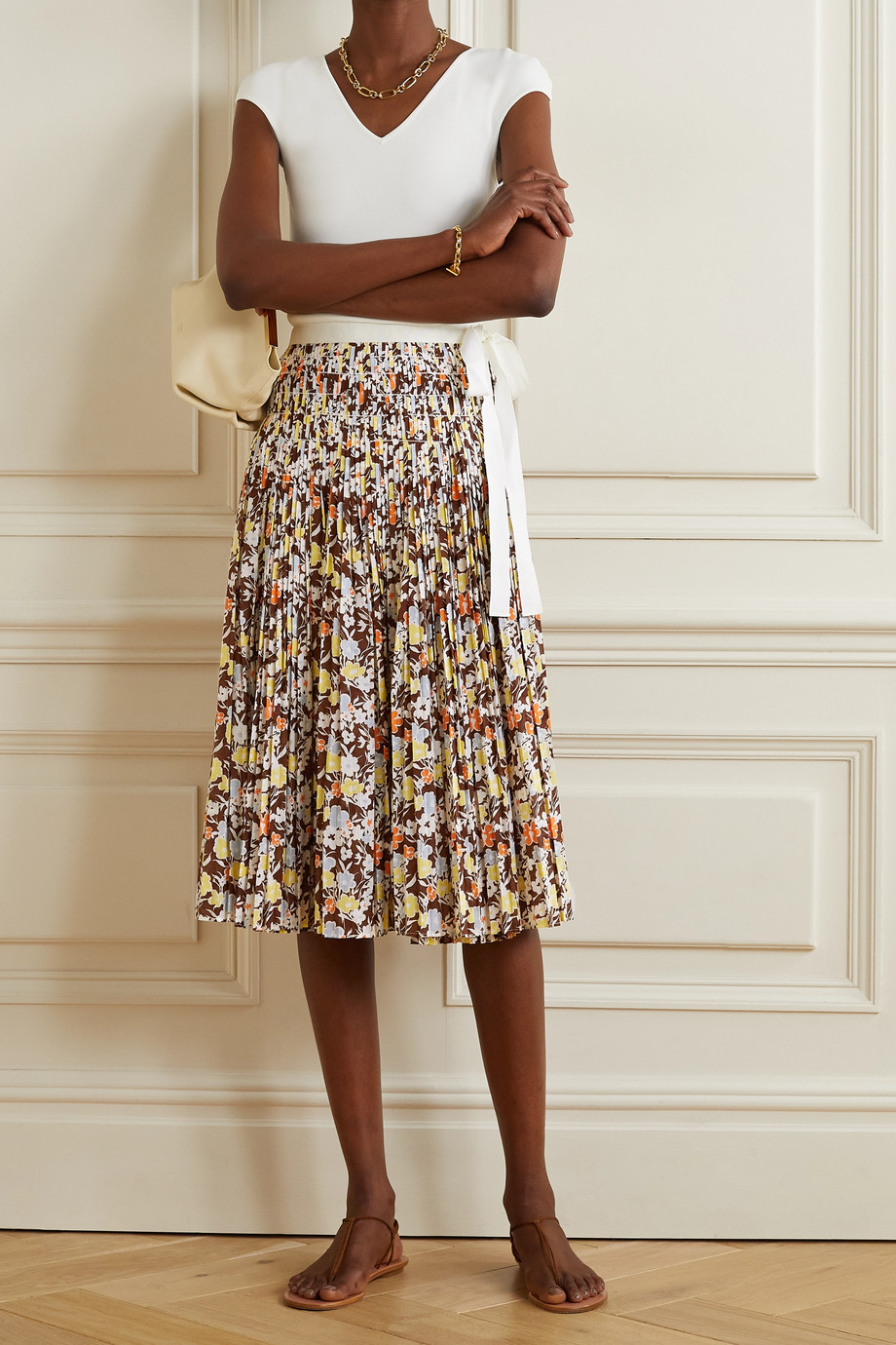 TORY BURCH Pleated floral-print cotton wrap midi skirt