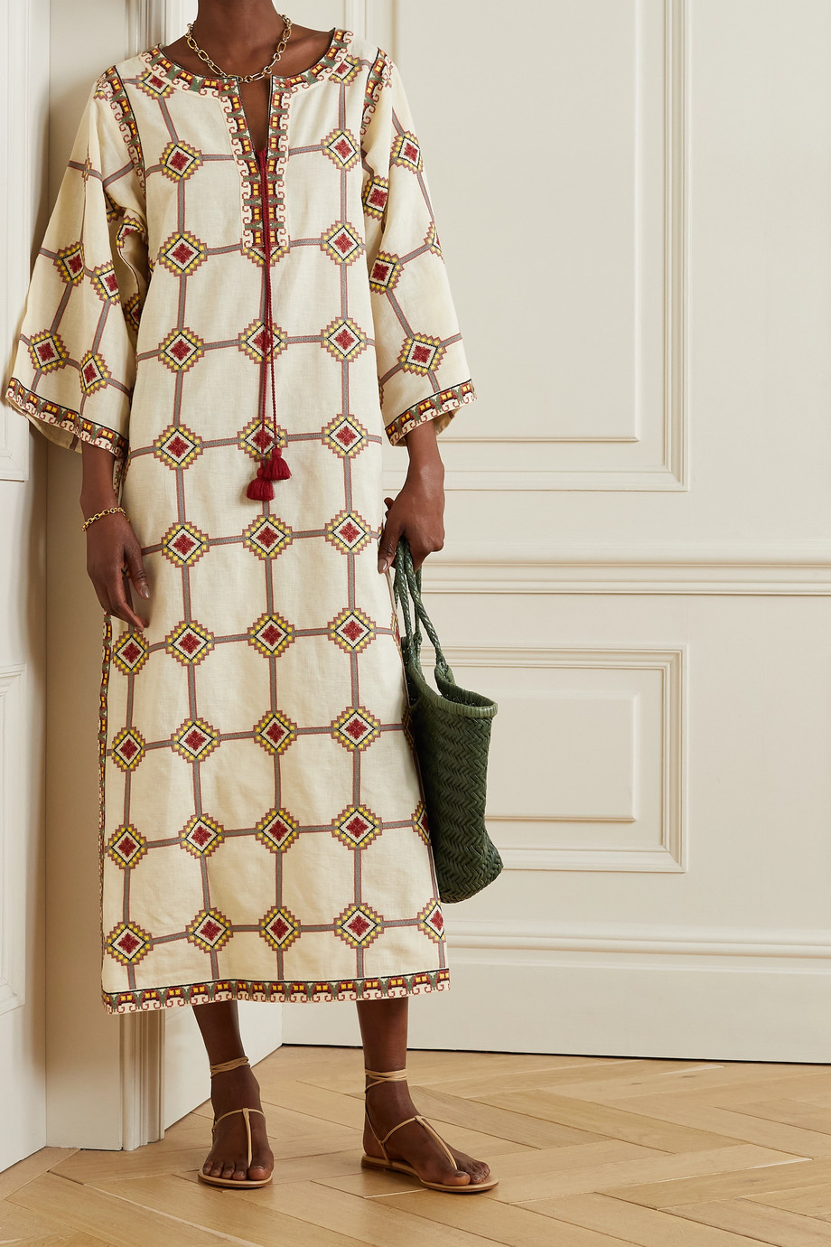 TORY BURCH Embroidered linen and cotton-blend kaftan