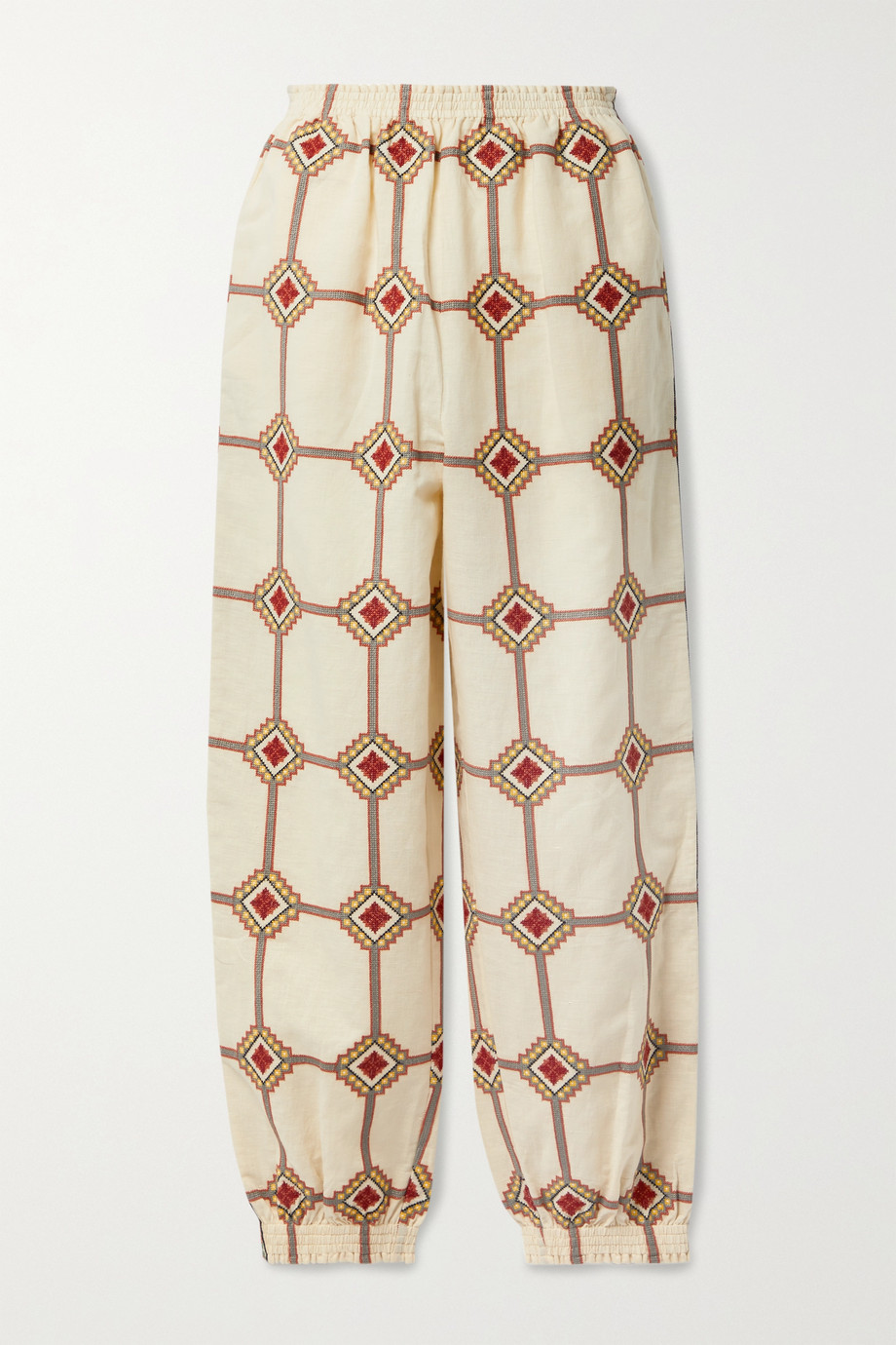 TORY BURCH Embroidered linen and cotton-blend tapered pants