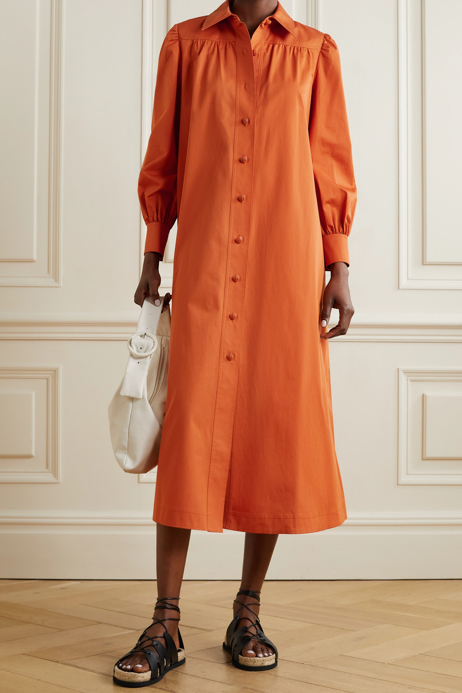 TORY BURCH Artist belted cotton shirt dress