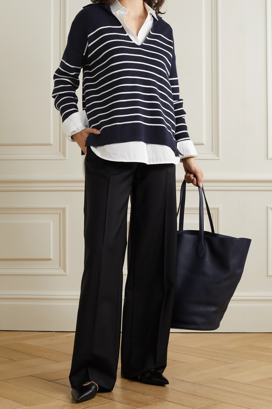 LA LIGNE Striped cotton and cashmere-blend sweater