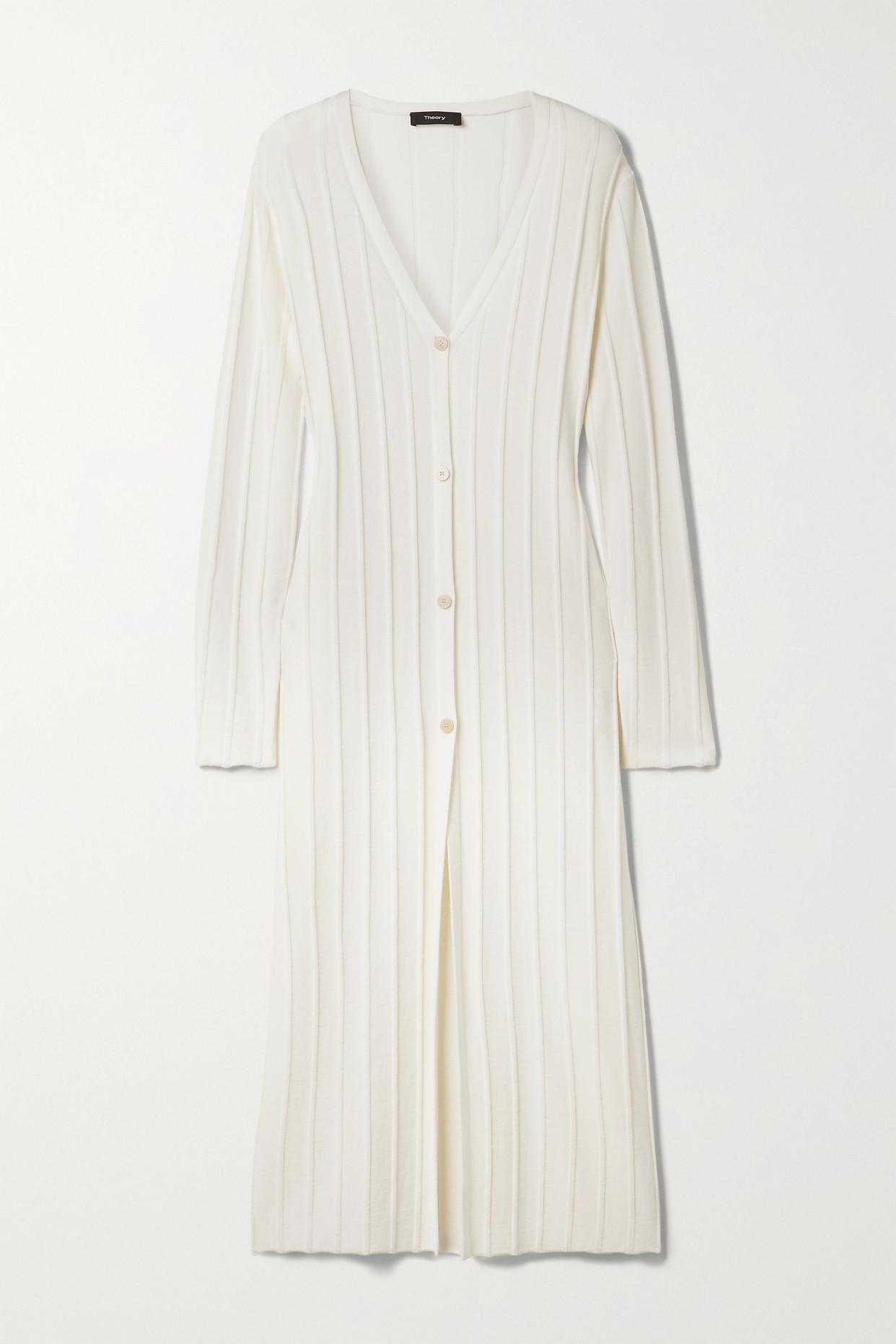 THEORY - Ribbed Merino Wool Cardigan - Ivory - small