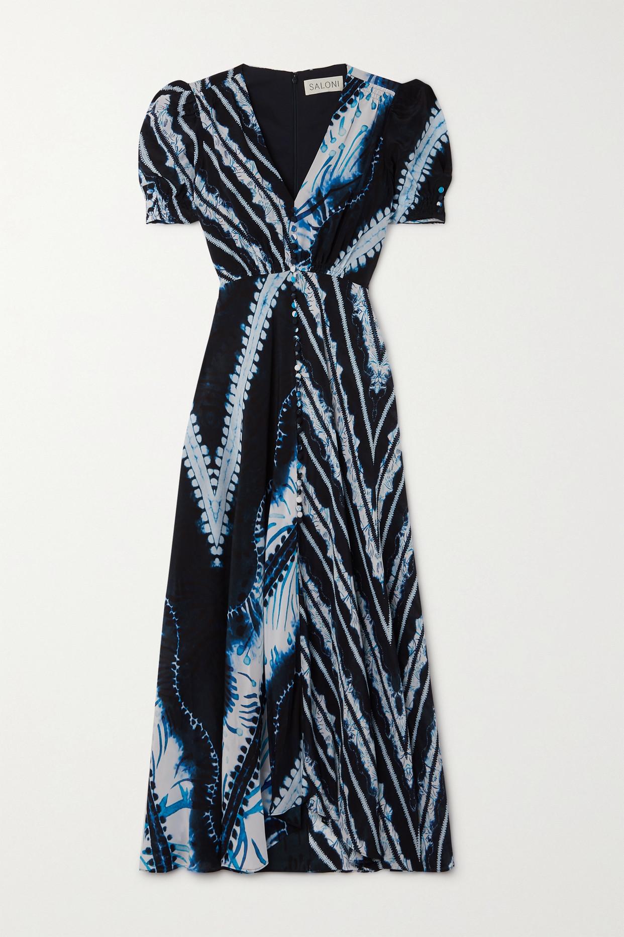 SALONI - Lea Printed Silk Crepe De Chine Midi Dress - Blue - UK6