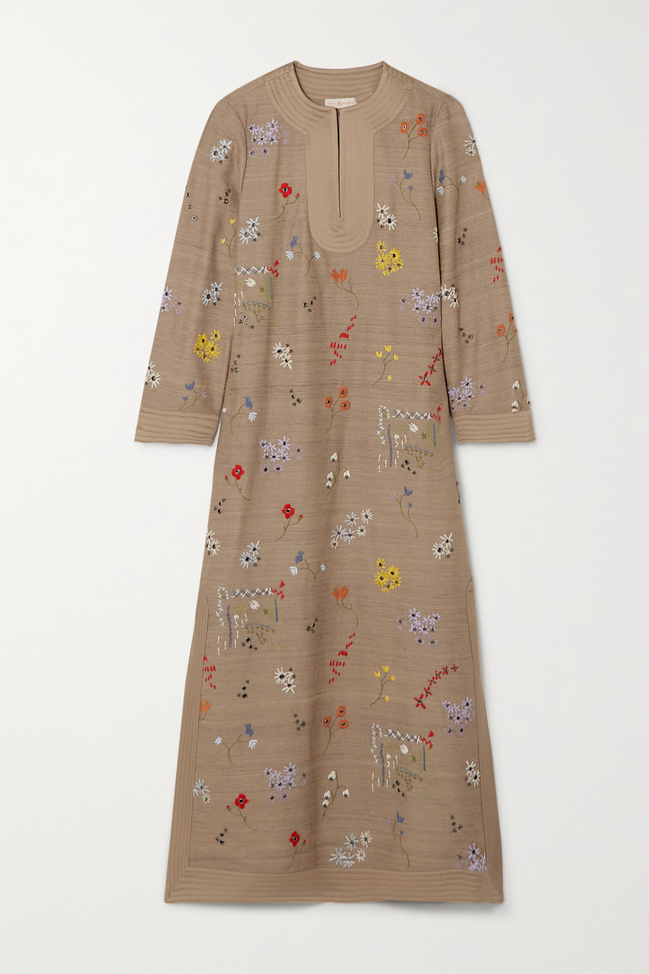 TORY BURCH Embroidered tussah silk maxi dress