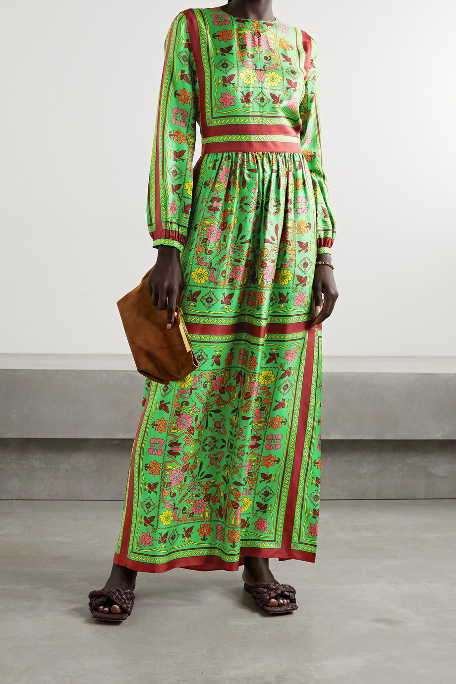 TORY BURCH Printed silk-twill maxi dress
