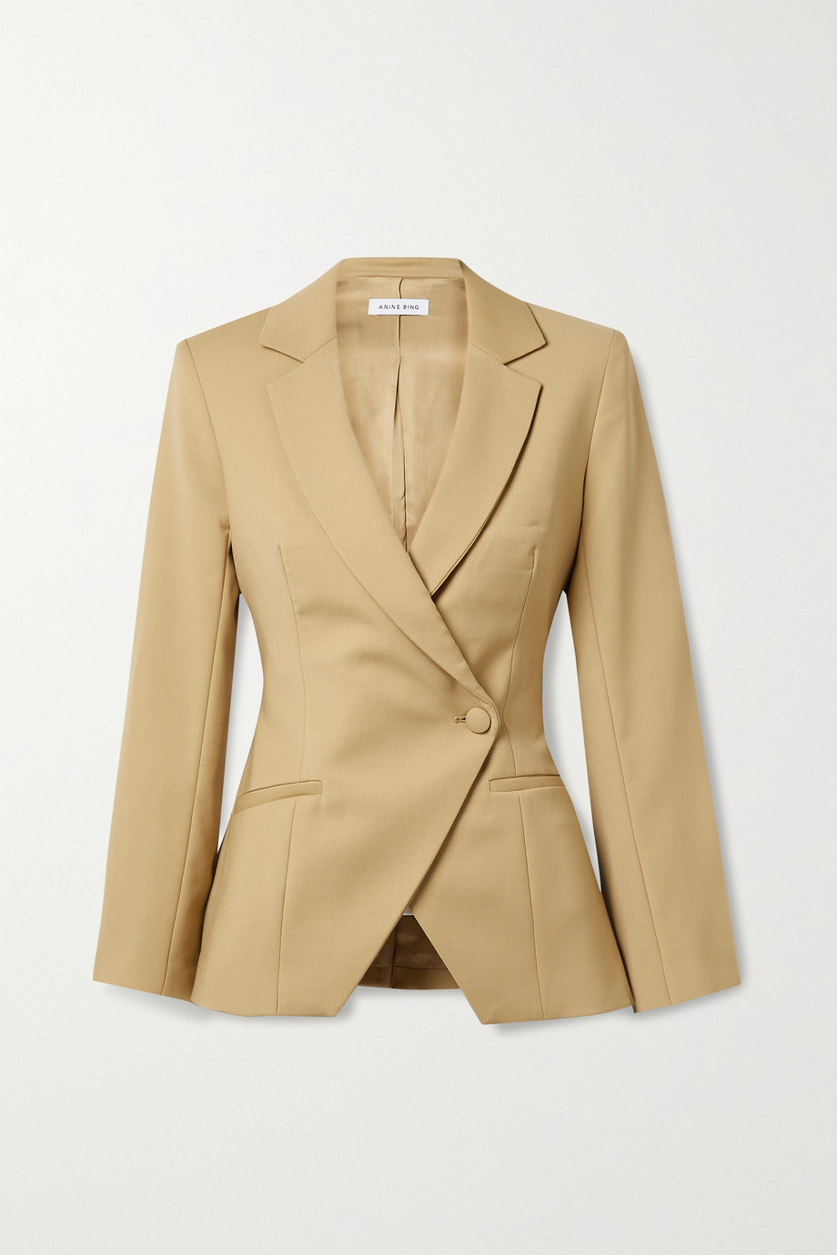 ANINE BING Ade asymmetric double-breasted wool-blend blazer