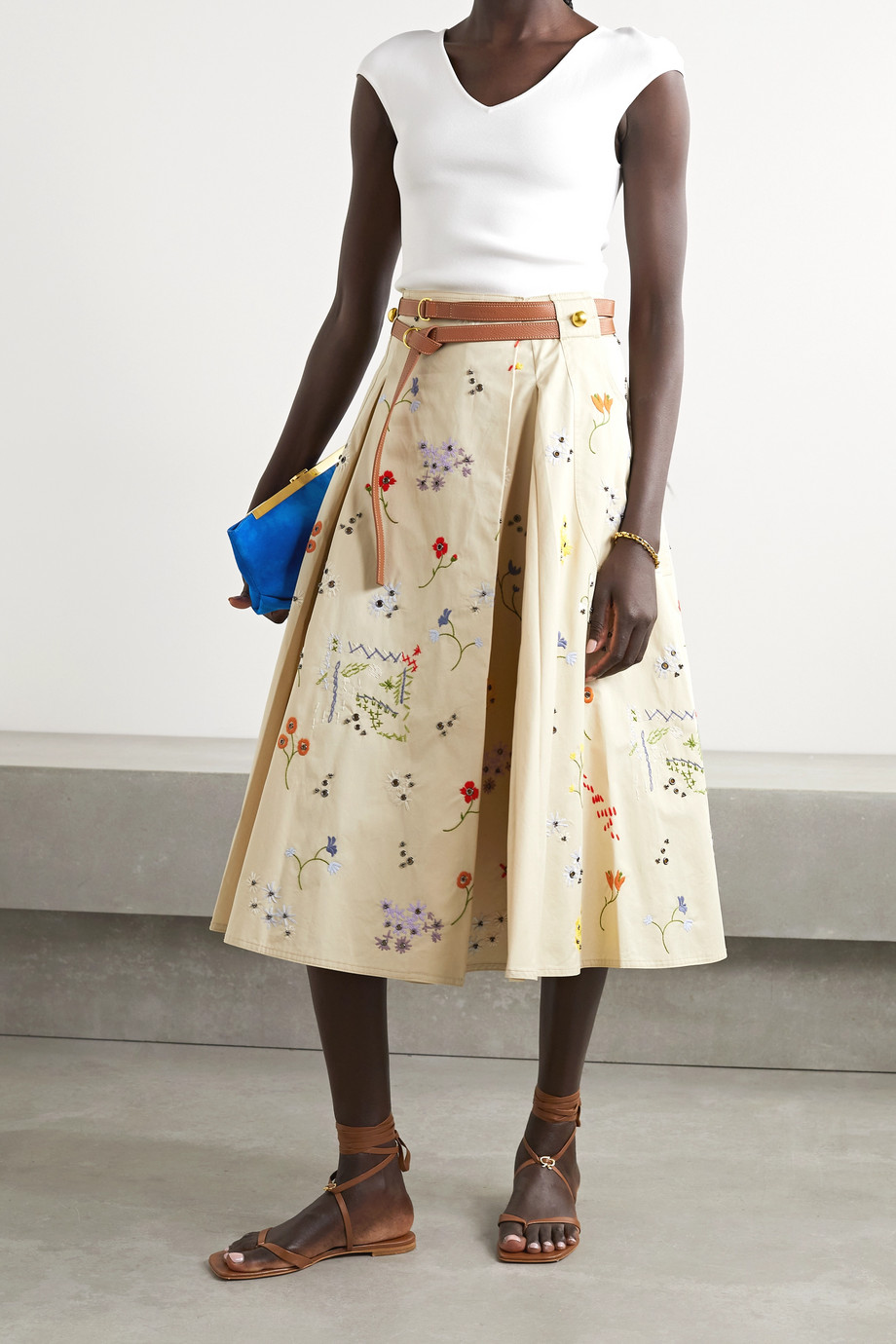 TORY BURCH Belted embellished cotton-twill midi skirt