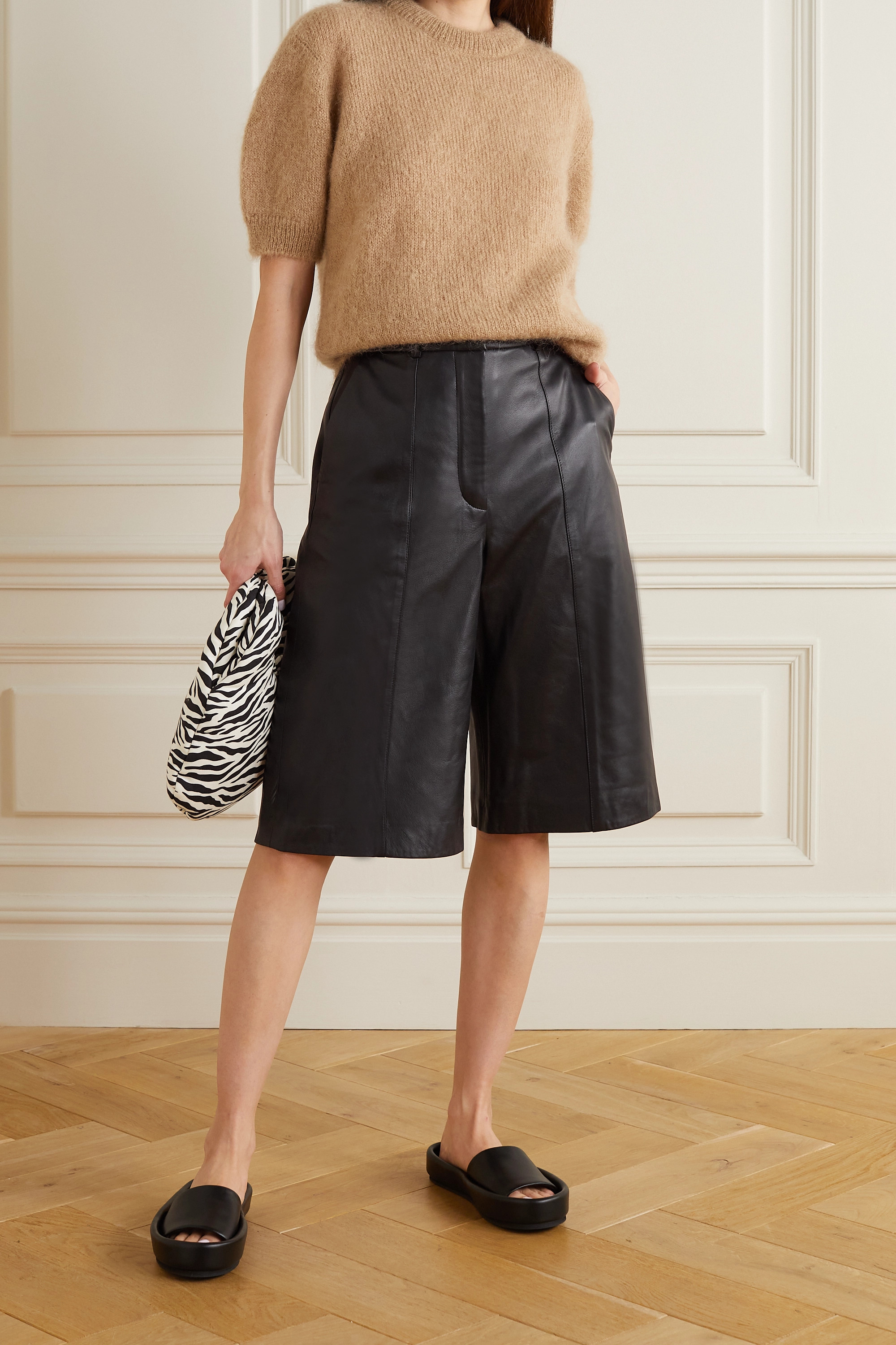 ANINE BING Nora pleated leather shorts