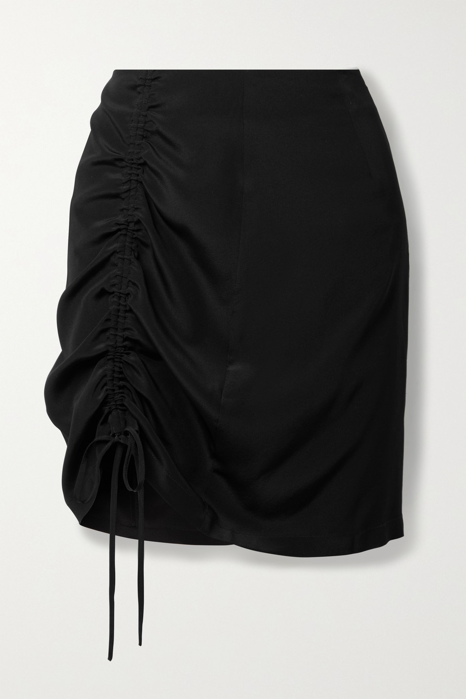 ENVELOPE1976 View ruched silk-satin mini skirt