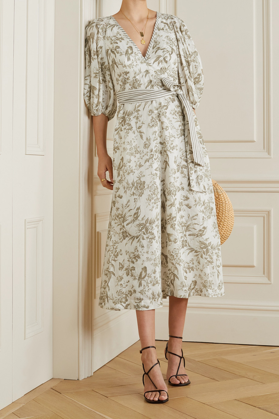 ZIMMERMANN Belted floral-print linen midi dress