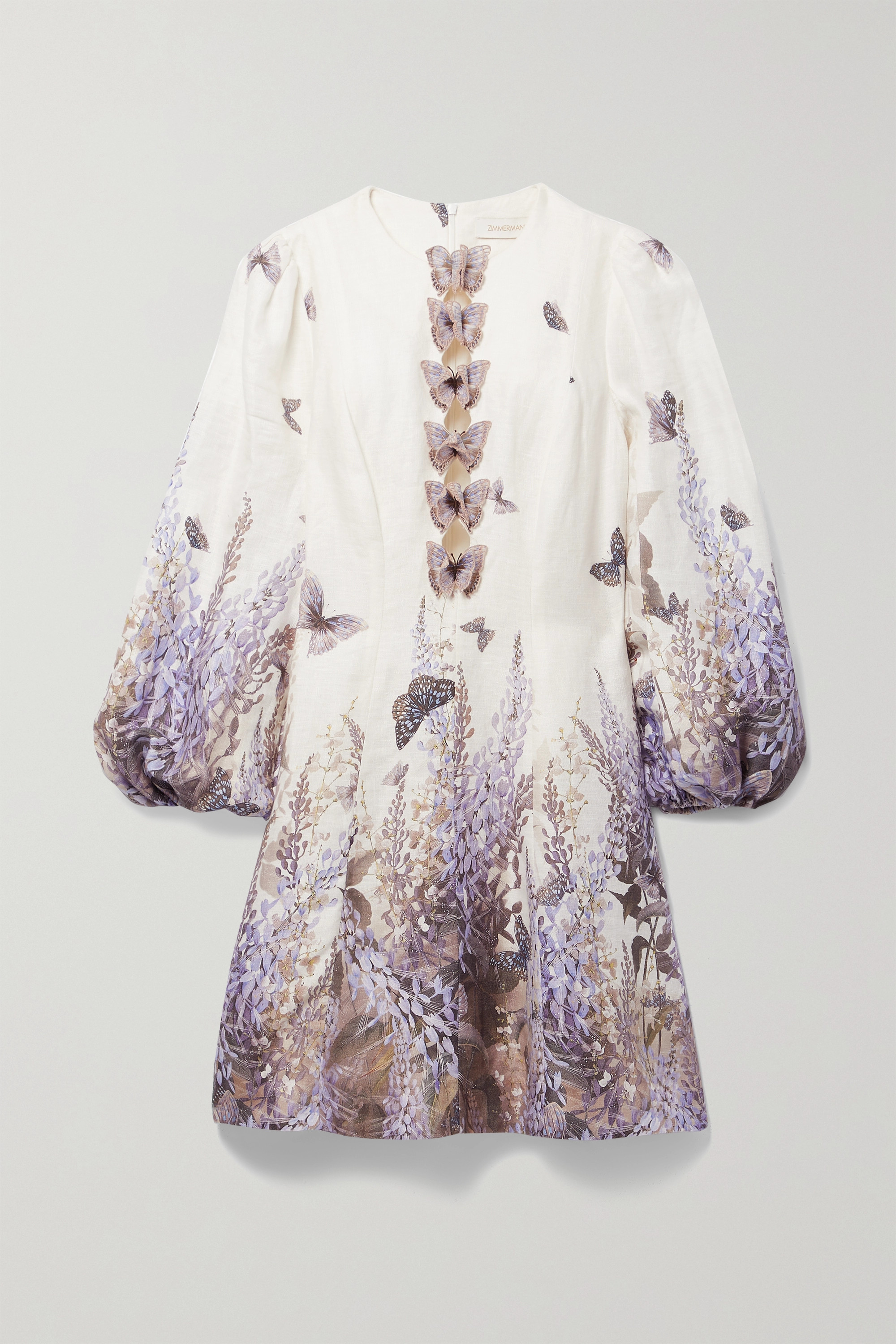 ZIMMERMANN Luminous cutout appliquéd printed linen mini dress