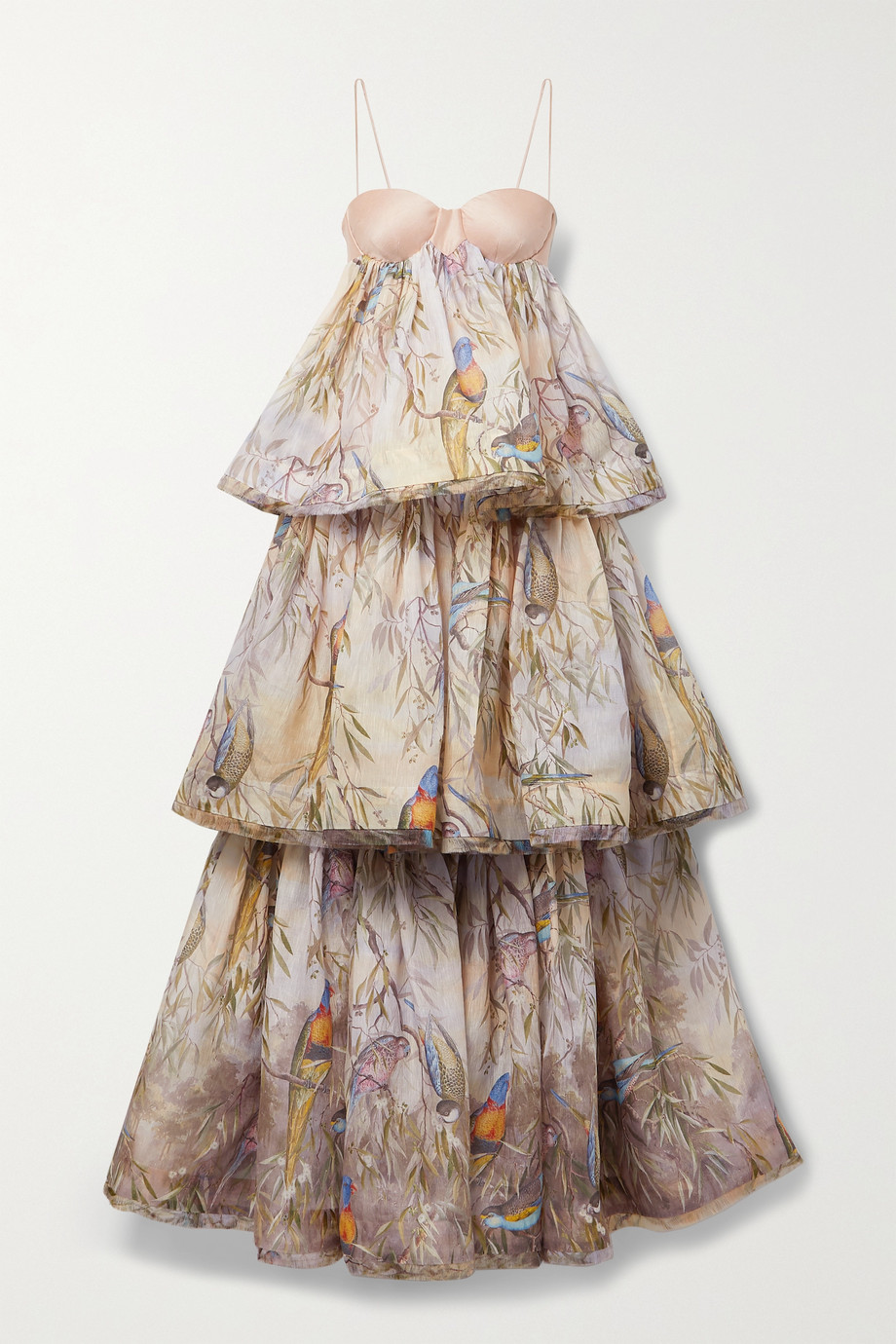 ZIMMERMANN Candescent tiered printed linen and silk-blend gown