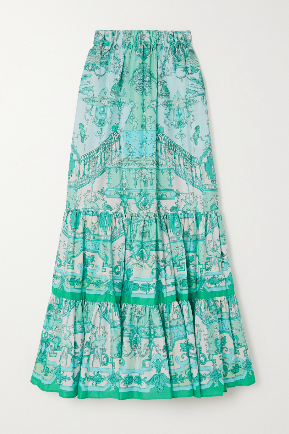 ETRO Tiered printed cotton-blend poplin maxi skirt