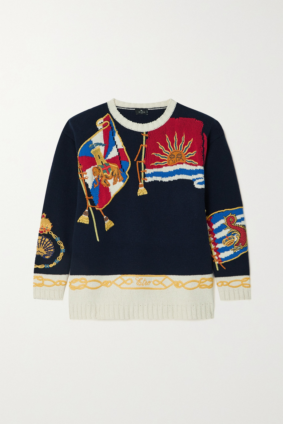 ETRO Embroidered intarsia wool-blend sweater