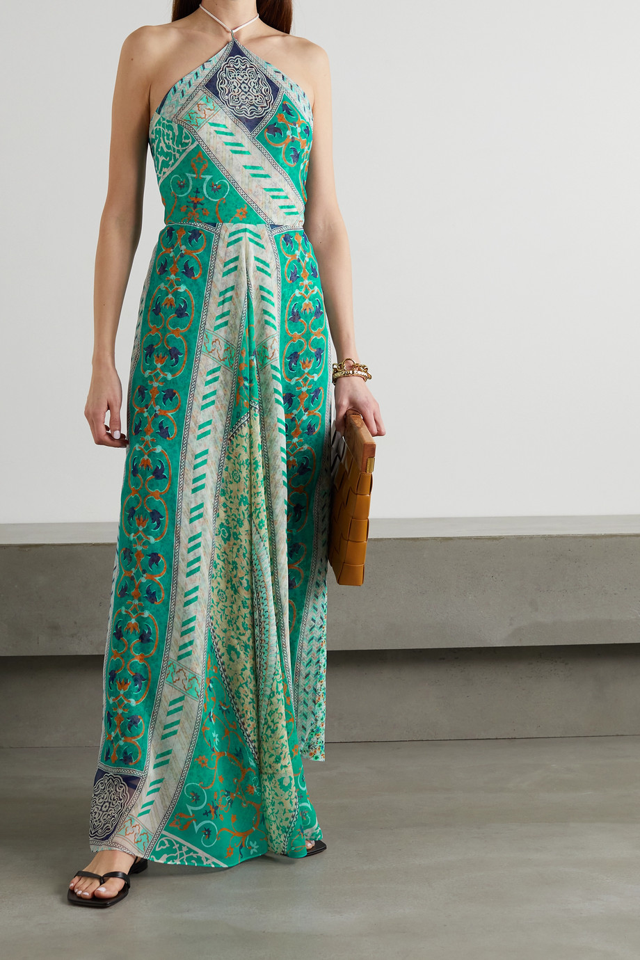 ETRO Printed silk-chiffon halterneck maxi dress